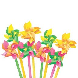 Fun Express - Mini Neon 2-Tone Pinwheels (6dz) - Toys - Value Toys - Pinwheels - 72 Pieces