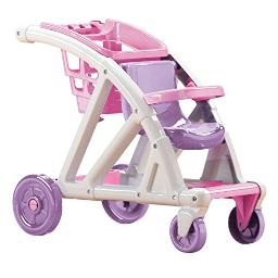 American Plastic Toys Shop with Me Stroller for Baby Doll, 2-in-1 Stroller and Shopping Cart, Encourages Role Play, Builds Motor Skills for Toddlers Learning to Walk, Pink and Purple, for Ages 2+