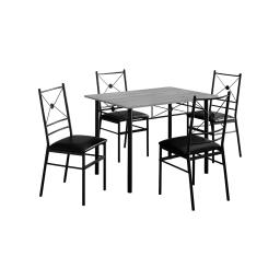Offex OFX-503681-MO Home Kitchen 5 Piece Dining Set - Black Metal/Grey