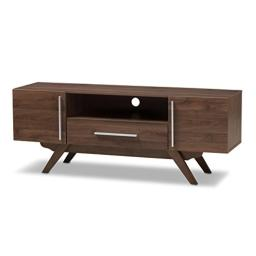 Baxton Studio Aulden Mid-Century Modern Walnut Brown Finished Wood TV Stand