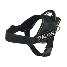 DT Fun Harness, Italian, Black With Yellow Trim, Small - Fits Girth Size: 22-Inch to 27-Inch