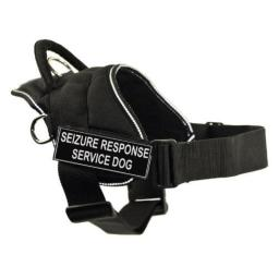 DT Fun Works Harness, Seizure Response Service Dog, Black With Reflective Trim, Large - Fits Girth Size: 32-Inch to 42-Inch