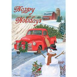 """"""" Christmas Truck - Happy Holidays """" - Double Sided, Standard Size, 28 Inch X 40 Inch Decorative Flag"""