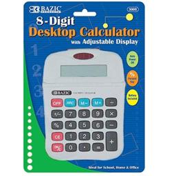 8-Digit Calculator with Adjustable Display Quantity: Case of 72