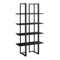 Offex Contemporary Home Industrial Look Satin Metal Bookcase, Black - 40 lbs