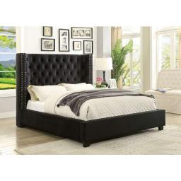 Solid Wood California King Size Bed with Padded Wingback Headboard, Black