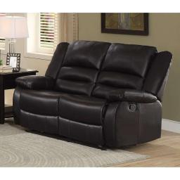 Leather Upholstered Double Reclining Love Seat With Padded Armrests, Brown
