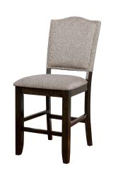 Fabric Upholstered Wooden Counter Height Chair with Camelback, Pack of Two, Gray and Brown