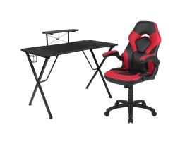 Offex Black Gaming Desk and Red/Black Racing Chair Set with Cup Holder, Headphone Hook, and Monitor/Smartphone Stand