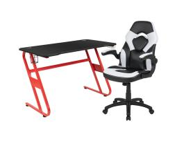 Offex Red Gaming Desk and White/Black Racing Chair Set with Cup Holder and Headphone Hook