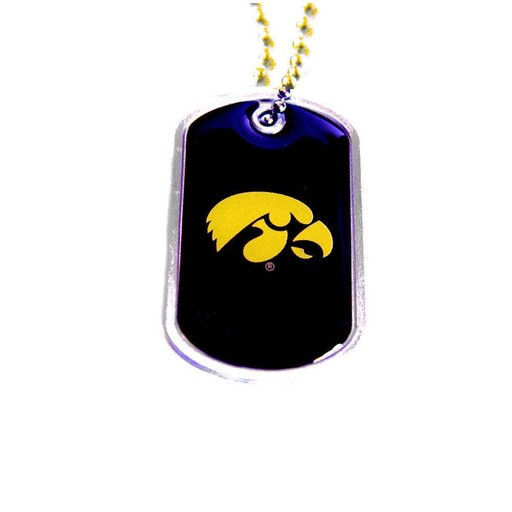 NCAA Iowa Hawkeyes Sports Team Logo Dog Tag Domed Necklace Charm Chain
