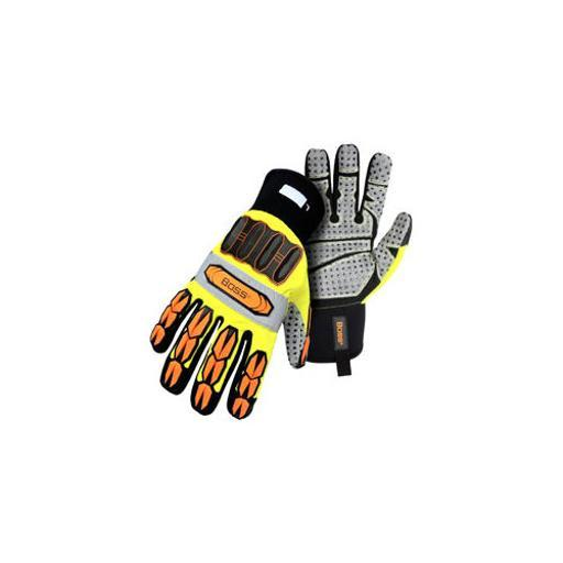 Boss cat gloves 6100l high-vis impact glove with synthetic leather palm large