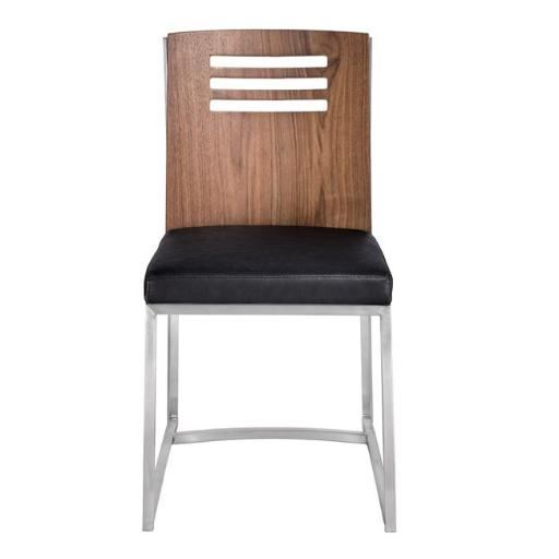 Armen Living LCOXSIVBBS 32.94 x 29.37 x 31.75 in. Oxford Dining Chair, Brushed Stainless Steel with Vintage Black Faux Leather & Walnut Wood Back