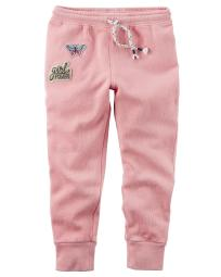 Carter's Little Girls' Garment-Dyed Patch Joggers, 2-Toddler