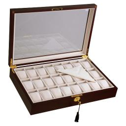 Yescom 24 Mens Wooden Display Case Glass Top Jewelry Pocket Watch Collection Storage Box Organizer