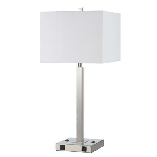 Cal Lighting LA-8028NS-2-BS 2 Metal Night Stand Lamp With Rocker Switches And Two Outlets