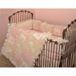 Heaven Sent Girl 7 Pieces Crib Bedding Set - Pink