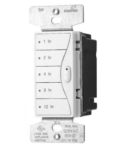 Cooper Wiring 9591ws Aspire Wall Switch Hourly Timers, White Satin