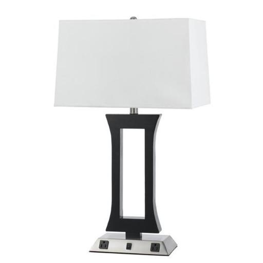 Cal Lighting LA-8022NS-1-BS 60W Metal Night Stand Lamp with Rocker Switch and 2 Outlets - 28 in.