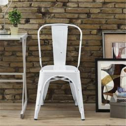 Walker Edison CH33MCWH 17 x 33 in. Metal Cafe Chair - Antique White