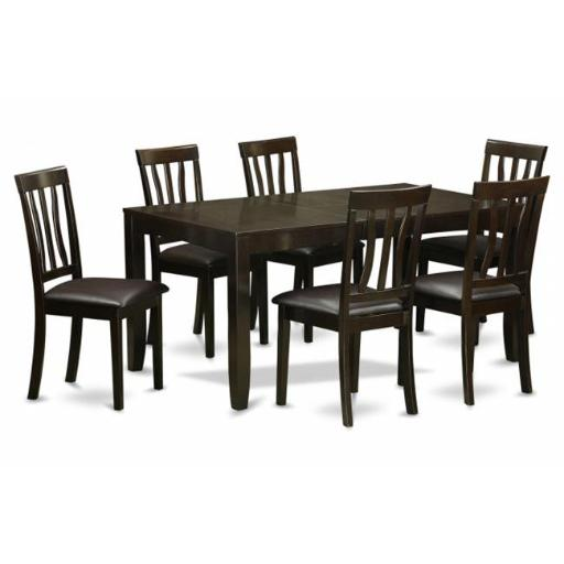 East West Furniture LYAN7-CAP-LC 7 Piece Dining Room Table Set-Dining Table With Leaf and 6 Dining Chairs