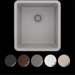 Lexicon Platinum LP-1618-W Small Single Bowl Quartz Composite Kitchen Sink, White LP-1618-W