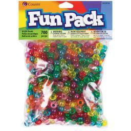 Fun Pack Acrylic Pony Beads 700/Pkg Transparent Rainbow