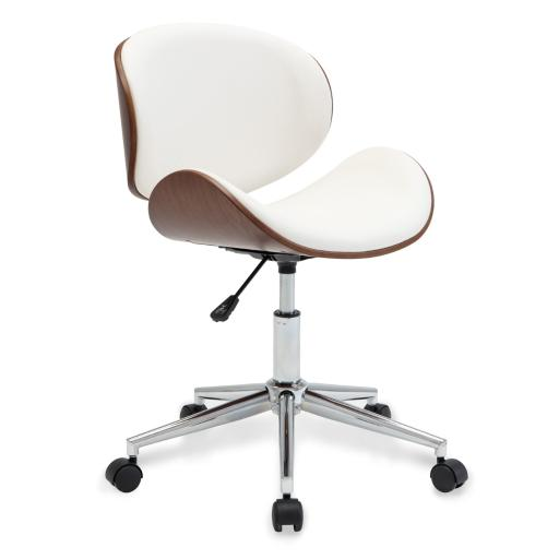 BELLEZE Living Room Office Contemporary Chrome Metal Adjustable Swivel Desk Chair, White