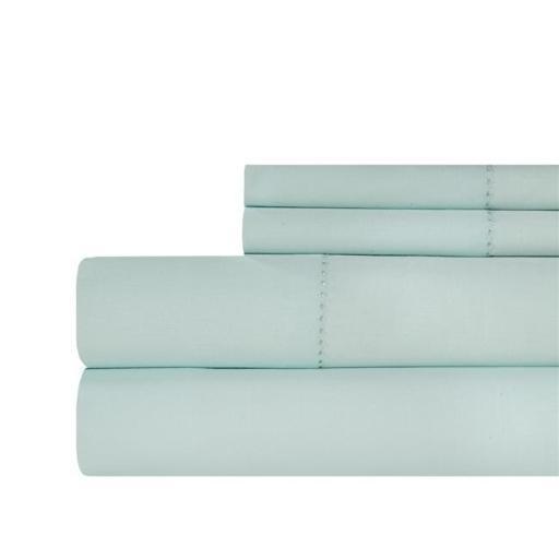 Aspire Linens HEM-500CTN-BLU-QN Hemstitch 500 Thread Count 100 Percent Cotton Sheet Set - Queen - Pale Blue