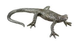 Textured Metallic Silver Finish Gecko Statue 10 in.