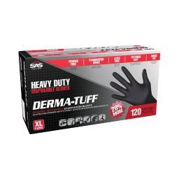 SAS Safety Derma-Tuff Nitrile Disposable Gloves X-Large Black Powder Free 120 pk - Case Of: 1;