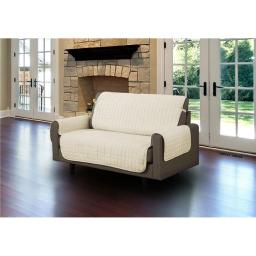 Linen Store LS-SC406585 Microfiber Pet Protector Cover with Tucks & Strap for Loveseat, Beige