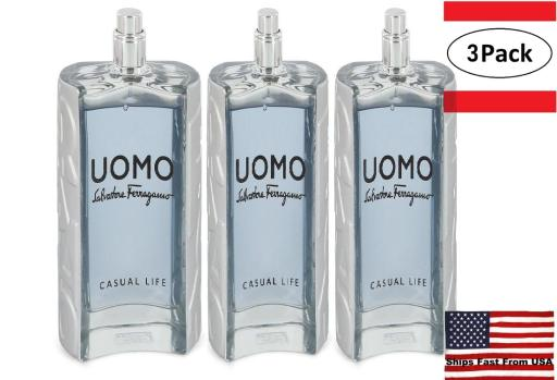 3 Pack Salvatore Ferragamo Uomo Casual Life by Salvatore Ferragamo Eau De Toilette Spray (Tester) 3.4 oz for Men Salvatore Ferragamo Uomo Casual Life is a cologne inspired by the lifestyles of men that simply enjoy life. Salvatore Ferragamo, a household name in luxury goods, produced the fragrance in 2017. Top notes of spicy cardamom, sweet violet leaf and citrusy lemon bring excitement and rejuvenation.