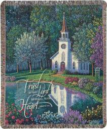 Sanctuary Country Church Inspirational Tapestry Throw Blanket 50 X 60