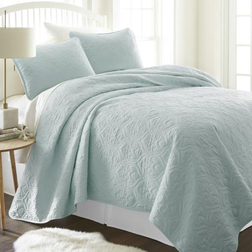 Soft Essentials&Trade; Premium Ultra Soft Damask Pattern Quilted Coverlet Set - Queen - Pale Blue(Pack Of 9)