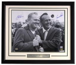 Jack Nicklaus Arnold Palmer Signed Framed 16x20 PGA Golf Photo Mounted Memories