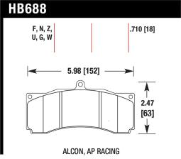 Hawk Ap Racing/Alcon Performance Ceramic Racing Front Brake Pads W/0.710In HB688Z.710