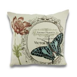 Vintage Style Naughty Butterfly Embroidered Decorative Throw Pillow 18in.