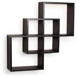 Danya B. FF6013B Intersecting Squares Decorative Wall Shelf, Black