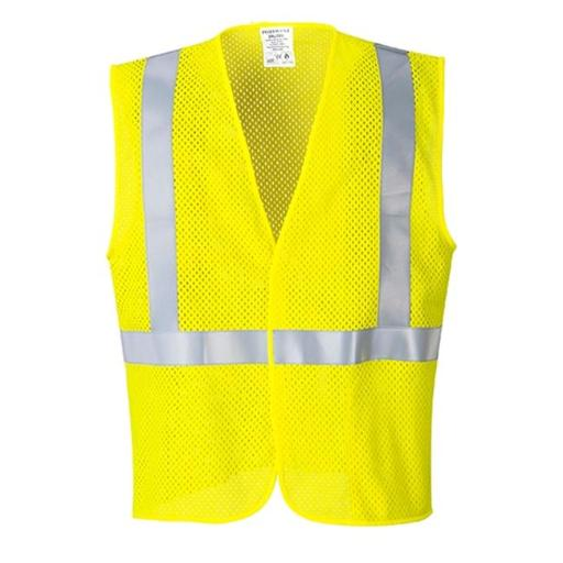 Portwest UMV21 Extra Large Arc Rated Flame Resistant Mesh Vest, Yellow - Regular