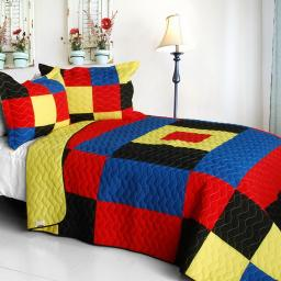 Lively Star  3PC Vermicelli-Quilted Patchwork Quilt Set-Full/Queen Size