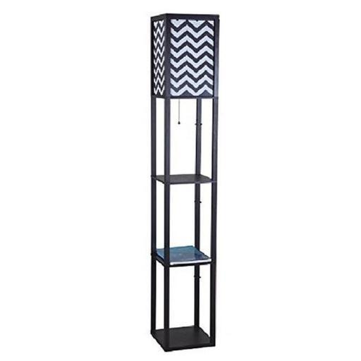 Q-Max 6958BK-B Wooden Shelf 63 in. Column Floor Lamp - Black