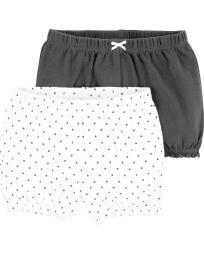 Carter's Baby Girls' 2-Pk. Bubble Shorts -Black White Polka -6 Months