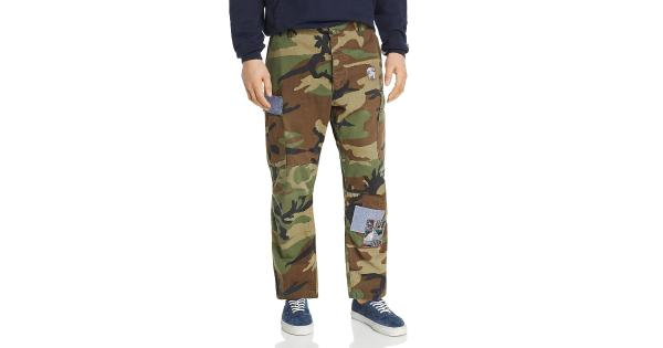 Atelier & Repairs Mens Woodland Cotton Camouflage Cargo Pants