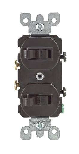 Leviton S00-05224-02s Combination Dual Toggle Switch Duplex, Brown, 15amp