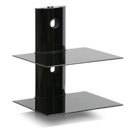 Modern 2-Tier Floating Wall Shelf for Media Accessories, Black