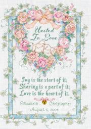"""United In Love Wedding Record Counted Cross Stitch Kit-10""""X14"""" 18 Count 35125"""
