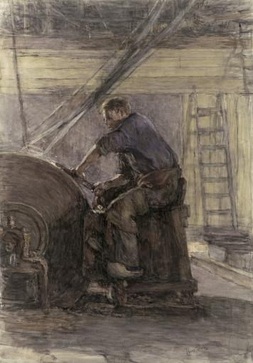 Blade Sharpener, By Isaac Israels, 1880-1910, Dutch Drawing, Chalk On Paper. Man Sharpening A Blade At A Large, Belt Driven Wheel In A Workshop.