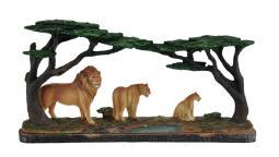 Lion's Pride Lion Family Under Acacia Tree Decorative Statue