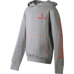 Browning 511001l bg youth's hoodie heather gray large w/logo sleeves<